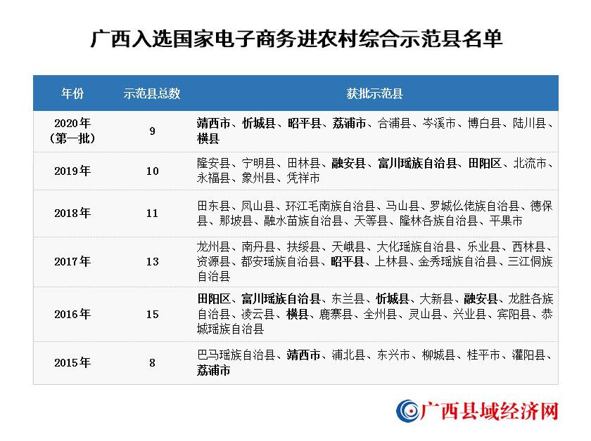 广西9县(市)入选2020年国家电子商务进农村综合示范县 总数达58个